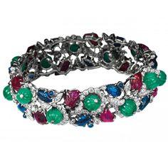 Van Cleef & Arpels Tutti Frutti bracelet, Paris, 1939. Platinum, white gold, diamonds, sapphire, rubies, emeralds.