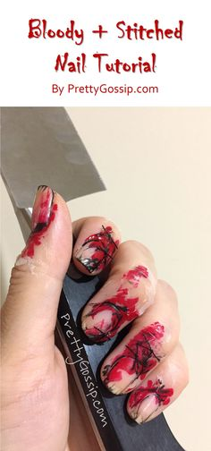 The EASIEST and SCARIEST Halloween Nail Look Tutorial. Completely Fool Proof! Pin now and try later! #NailArt #HalloweenNails #NailLook