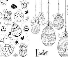 Easter doodles vector.
