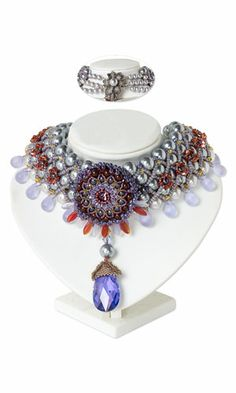 Collar-Style Necklace with SWAROVSKI ELEMENTS, Glass Beads and Seed Beads