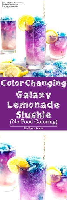 Color Changing Galaxy Lemonade Slushie - There's no food coloring in this Color Changing Lemonade Slushie! Just a dash of magic from magic ice and delicious VODKA -- lemonade that (kids?) and adults will love. The ultimate Summer Lemonade drink! Slushies, Lemonade Slushie, Slurpee, Flavored Lemonade, Refreshing Drinks, Yummy Drinks, Healthy Drinks, Healthy Recipes, Vegetarian Recipes
