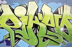 Light Green and Blue Graffiti Wallpaper Wall Mural | MuralsWallpaper.co.uk