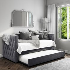 Buy Sacha Velvet Sofa Bed in Silver Grey - Trundle Bed Included from - the UK's leading online furniture and bed store Daybed Room, Daybed With Trundle, Bed Rooms, Room Ideas Bedroom, Bedroom Decor, Day Bed Decor, Bedroom Sofa, Nursery Room, Girl Nursery