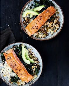 Brown Rice & Salmon Bowl for dinner. Don't forget to pair it with your favorite Chattanooga butter! #dinner #healthyfood #salmon