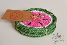 Ravelry: Refreshing Watermelon Coasters pattern by Noa Garcia Crochet Home Decor, Crochet Crafts, Yarn Crafts, Crochet Projects, Love Crochet, Knit Crochet, Knitting Patterns, Crochet Patterns, Crochet Kitchen