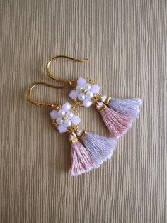Boho bridesmaid earrings Pink beaded tassel earrings Gift Urban Jewelry, Beaded Tassel Earrings, Fringe Earrings, Tassel Jewelry, Wedding Earrings, Beaded Earrings, Beaded Jewelry, Bridesmaid Bracelet, Fall Jewelry