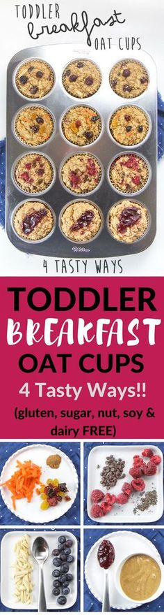 These allergy-friendly Toddler Breakfast Oat Cups are about to make your crazy mornings a whole lot easier (and more delicious)! They are made with wholesome ingredients such as oats, bananas, coconut oil and maple syrup
