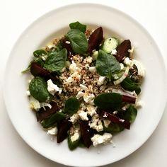 Organic Beetroot, Quinoa, fennel, spinach & feta salad