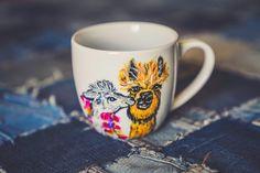 Customized kissing llama mug, alpaca coffee mug love you more, Painted couple mug from husband to wife for wedding anniversary. Coffee lover