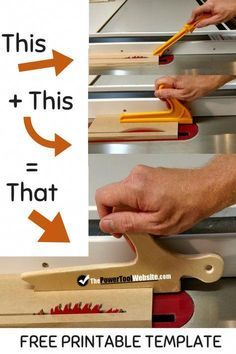Woodworking Beginner woodworking projects - be safe and use a table saw push stick. This combo stick / shoe saves space and works on any standard cut with the table saw. Table saw push stick you can make yourself for multi-purpose use and added safety. Woodworking For Kids, Beginner Woodworking Projects, Woodworking Patterns, Popular Woodworking, Woodworking Furniture, Woodworking Crafts, Woodworking Tools, Woodworking Workshop, Custom Woodworking