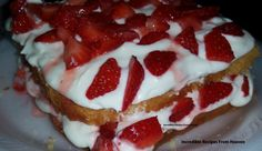 Fresh Strawberry Shortcake w/ Whipped Cream Cheese Frosting!