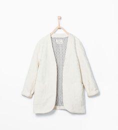 Image 1 of Loose jacquard coat from Zara