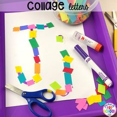 Cutting collage alphabet letter mats! Alphabet letter mats - build the letter and write it! Easy way to make learning letters and handwriting fun for preschool, pre-k, and kindergarten #letters #alaphabet #handwriting #preschool #prek #kindergarten Teaching The Alphabet, Alphabet Activities, Language Activities, Letter Collage, Letter Games, Letter Formation, Little Learners, Writing Practice, Preschool Art