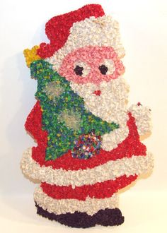 Vintage Christmas Melted Plastic Popcorn Decoration ~ Santa w/ Christmas Tree