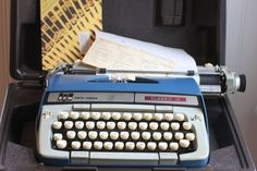 Vintage Smith Corona Blue Classic Portable Typewriter