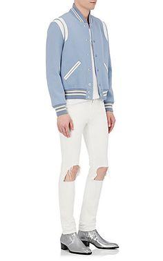 31da418848e3 Saint Laurent Wool   Leather Varsity Jacket