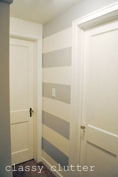 horizontal stripes painted on small wall