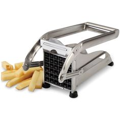 The Instant French Fry Slicer - Hammacher Schlemmer - This is the slicer that cuts perfectly shaped French fries with the press of a lever.
