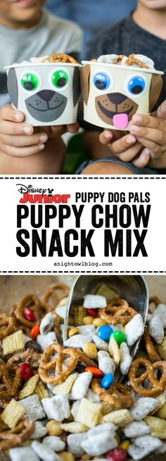 Dog Pals Puppy Chow Snack Mix This summer put the YAY in your FriYAY with NEW Puppy Dog Pals on Disney Junior and this tasty Puppy Chow Snack Mix for your kiddos! ADTasty Tasty may refer to: Puppy Birthday Parties, Puppy Party, Dog Birthday, Birthday Ideas, Snoopy Birthday, Disney Junior, Disney Snacks, Disney Disney, Bingo