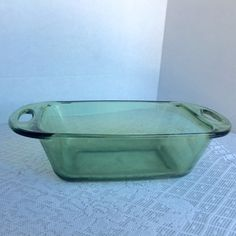 Anchor Hocking Green Glass Vintage Glassware Bread Pan by vintagepoetic on Etsy