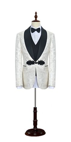 White jacquard Chinese knot button custom suit, was made from MatthewAperry 2017 new arriving fabric, MatthewAperry suits are built with top quality components and thoughtful construction. This suit is half canvass with fully fused fronts, for greater versatility and superior shape for your body. In addition to, it can be custom made to your unique measurements and specifications.