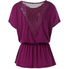 Elastic Waist Lace Insert T Shirt ($9.67) ❤ liked on Polyvore featuring tops, t-shirts, purple tee, lace inset top, purple t shirt, lace insert top and purple top