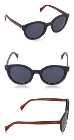 b1f968414f8 Amazon.com  Tommy Hilfiger TH 1437 S L0JKU (Blue - Dark Red with Blue  lenses)  Clothing