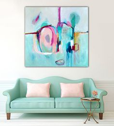 ABSTRACT BLUE PAINTING minimalist grey abstract by SarinaDiakosArt