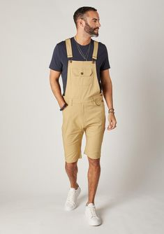 Men's Dungarees, Black Dungarees, Bib Overalls, Slim Man, Overall Shorts, Button, Belt, Pockets, Outfits