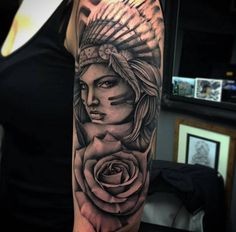 Ideas For Music Tattoo Thigh Dream Catchers Indian Women Tattoo, Indian Girl Tattoos, Native American Tattoos, Native Tattoos, Music Tattoos, Body Art Tattoos, Tatoos, Rose Tattoos, Girls With Sleeve Tattoos