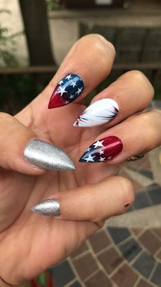 Red/Blue Star design only-  NOT pointy nails