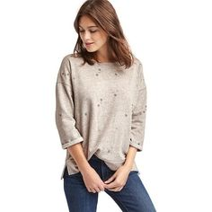 Gap Women Embroidered Mini Flower Sweatshirt ($50) ❤ liked on Polyvore featuring tops, hoodies, sweatshirts, oatmeal heather, regular, embroidery top, pink top, flower sweatshirt, mini top and colorful tops
