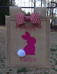 Easter bunny 3D burlap garden flag by 3LilFrogs on Etsy, $25.00