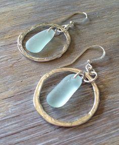 Genuine Sea Glass Jewelry Sea Glass Earrings Hammered Hoops by MermaidCharms on Etsy https://www.etsy.com/au/listing/172787426/genuine-sea-glass-jewelry-sea-glass