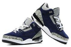 Cheap Nike Air Jordan Shoes 3 Suede Black Blue
