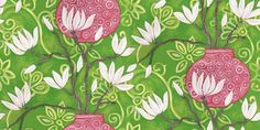 In Bloom Emerald (346926) - Brian Yates Wallpapers - A stunning water silk effect design with bold, Chinese influenced vases in shades of pink with white magnolia blooms on a vivid emerald green patterned background. Other colourways are available. Please request a sample for a true colour match. Stunning brilliant colours with lustre inks. Paste the wall product. This is a special order item and may take up to 10-14 working days to arrive.