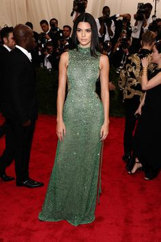 Kendall Jenner wearing fantastic emerald Calvin Klein: front view.