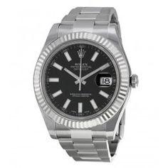 Replique Montre Rolex Datejust II Cadran Index Noir Fluted Lunette Or Blanc 116334BKSO