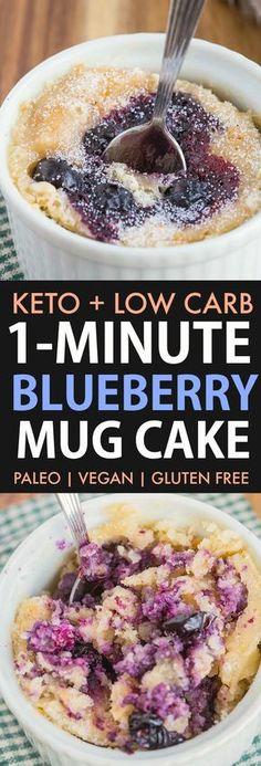 A light, fluffy and moist Keto Blueberry Mug Cake ready in ONE minute! NO grains… A light, fluffy and moist Keto Blueberry Mug Cake ready in ONE minute! NO grains…,My Pano A light, fluffy. Blueberry Muffin In A Mug Recipe, Blue Berry Muffins, Blueberry Cake, Keto Blueberry Muffins, Blueberry Recipes Low Carb, Keto Cake, Vegan Cake, Desserts Keto, Keto Snacks