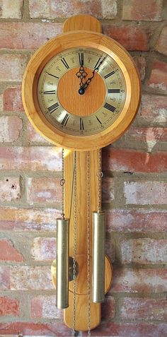 Vintage hw mahogany case 31 day wall clock with chimes manual vintage german fhs 8 day weight operated striking light oak case wall clock aloadofball Choice Image