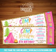 Printable Gold Glitter Glamping Ticket Birthday Invitation   Pink and Gold   S'mores Party   Backyard Sleepover   Roast and Toast   Camping   Beach Bonfire Party   Summer or Fall Party   FREE thank you card included   Printable Matching Party Package Decorations Available! Banner   Signs   Labels   Favor Tags   Water Bottle Labels and more! www.dazzleexpressions.com
