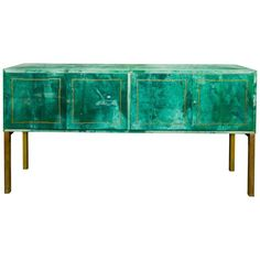 Rare Green Parchment Sideboard by Aldo Tura | From a unique collection of antique and modern buffets at https://www.1stdibs.com/furniture/storage-case-pieces/buffets/