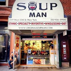 "Soup ManAli ""Al"" Yeganeh's soup chain is world-famous, due in part to its relationship with Seinfeld (he was reportedly the inspiration for the show's ""Soup Nazi""). Visit the midtown Manhattan location for the full experience, and grab a cup of one of Al's too-good-to-be-true bisques to-go.Soup Man, multiple locations. #refinery29 http://www.refinery29.com/nyc-street-food-pictures#slide-24"