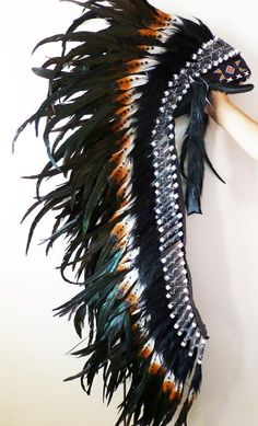 Extra Large Indian feather headdress brown by THEWORLDOFFEATHERS, $199.00