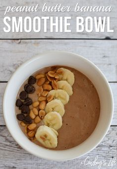 Peanut Butter Banana Smoothie Bowl - A Cowboys Life Peanut Butter Smoothie, Peanut Butter Banana, Smoothie Bowl, Smoothie Recipes, Protein Smoothies, Yummy Eats, Yummy Food, Healthy Afternoon Snacks, Healthy Breakfasts