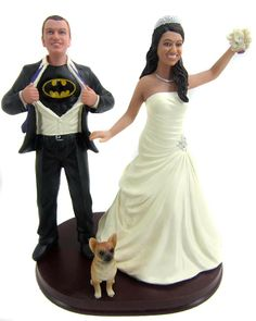 BobbleGr.am - Batman Groom with your choice of Bride Cake Topper, $184.99 (http://www.bobblegr.am/batman-groom-with-your-choice-of-bride-cake-topper/). Well heres a marvelous cake topper...only $185!