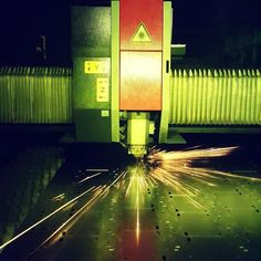 Our 'little' laser dancing on the steel #lasercutting #metalwork #laser #fabrication #manufacturing #amada