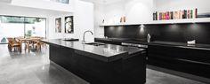 Open plan island kitchen design