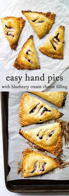Easy freezer-friendly blueberry hand pies made with store-bought pie dough, fresh blueberries and cream cheese. #pie #blueberrypie #creamcheese #breakfast #dessert via @april7116