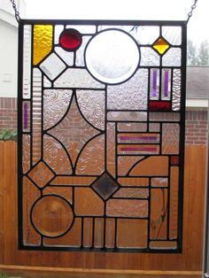 "Geometric Fun Leaded Stained Glass Window Panel 15 1 2"" x 21 1 2"" | eBay"